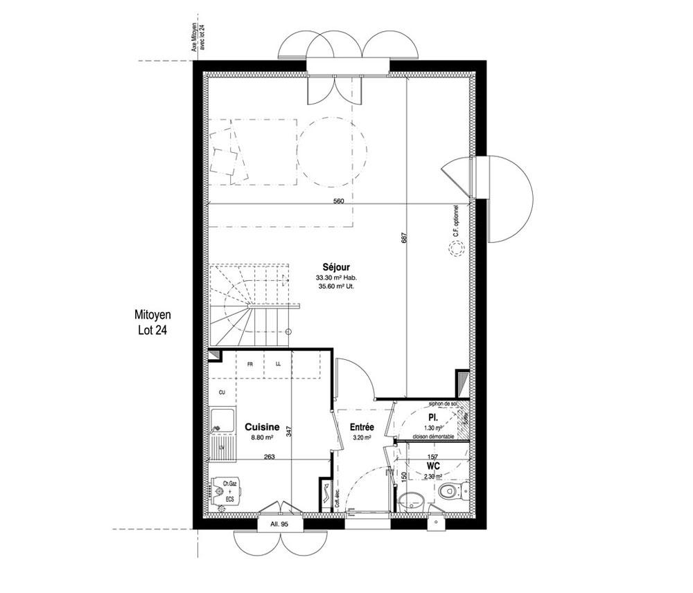 Maison n 25 le domaine uni vert st pierre t5 de for Programme plan maison