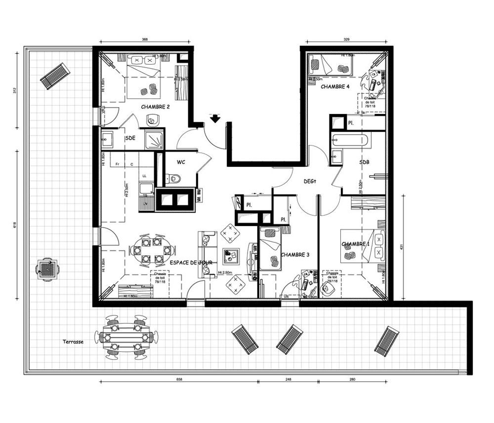 plan appartement t5. Black Bedroom Furniture Sets. Home Design Ideas