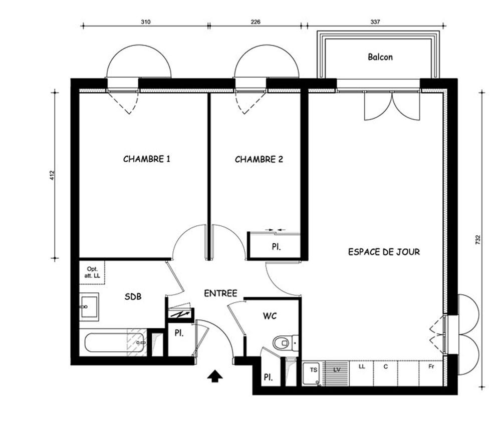 Appartement n 5109 le domaine uni vert st pierre t3 de for Plan appartement 1 chambre