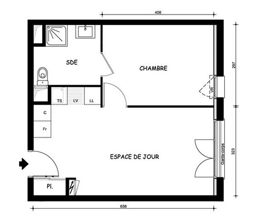 Appartement n 5201 le domaine uni vert st pierre t2 de for Plan appartement 1 chambre