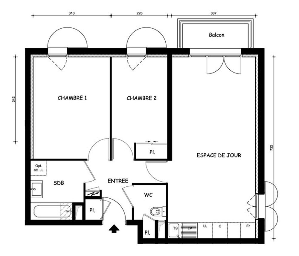plan gratuit appartement 3 pieces