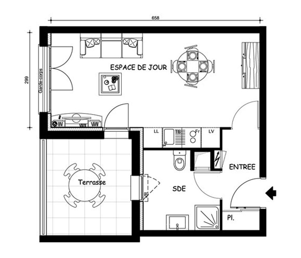 Appartement n 1619 le domaine uni vert st pierre t1 de for Plan du site de logement