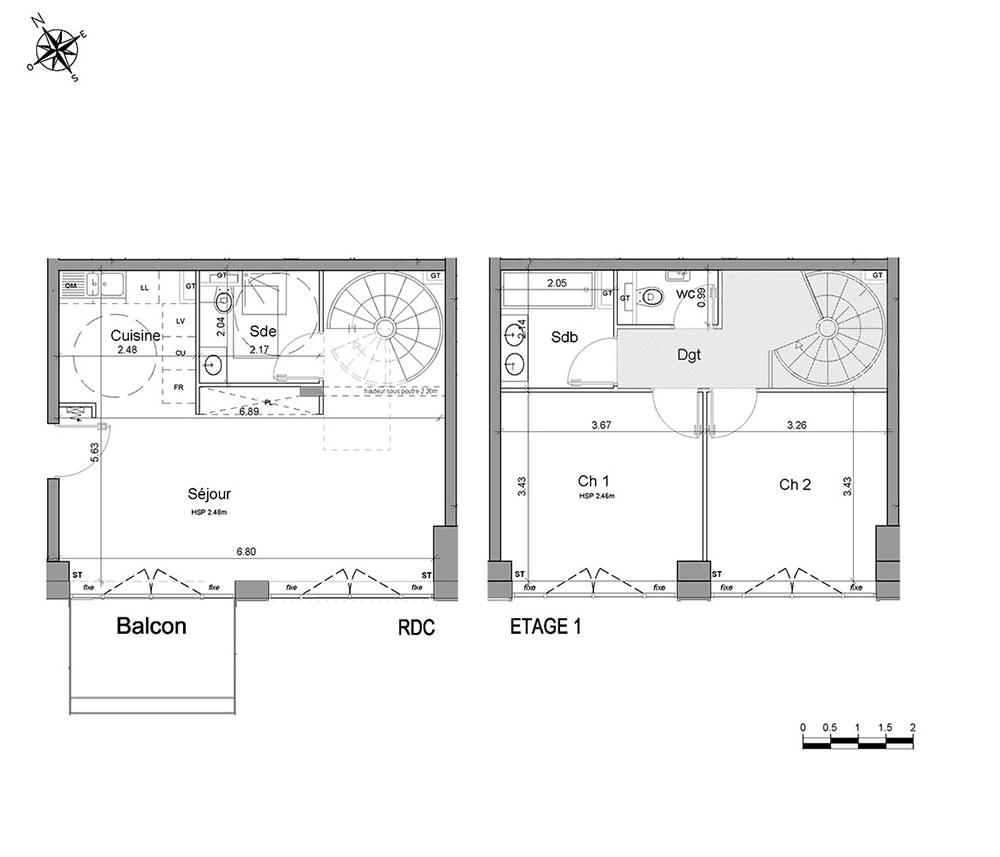 Duplex n d06 l imprimerie t3 de m paris 14 me for Plans d imprimerie