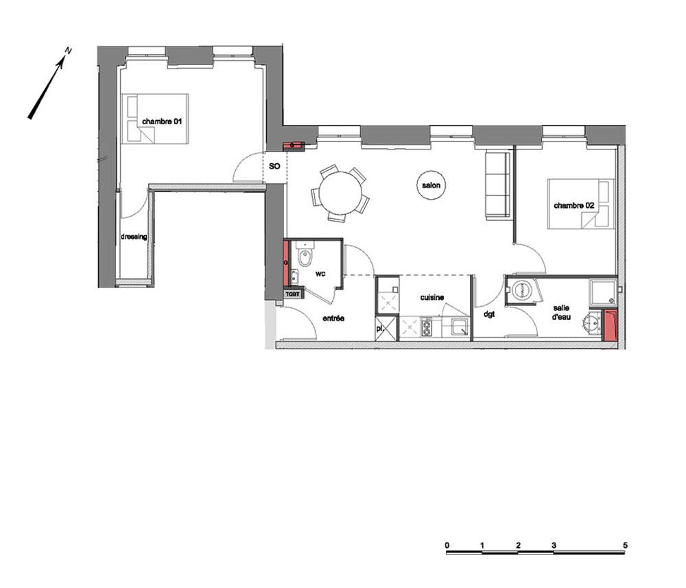 appartement n 310307 grand s minaire richelieu t3 de m chamali res. Black Bedroom Furniture Sets. Home Design Ideas