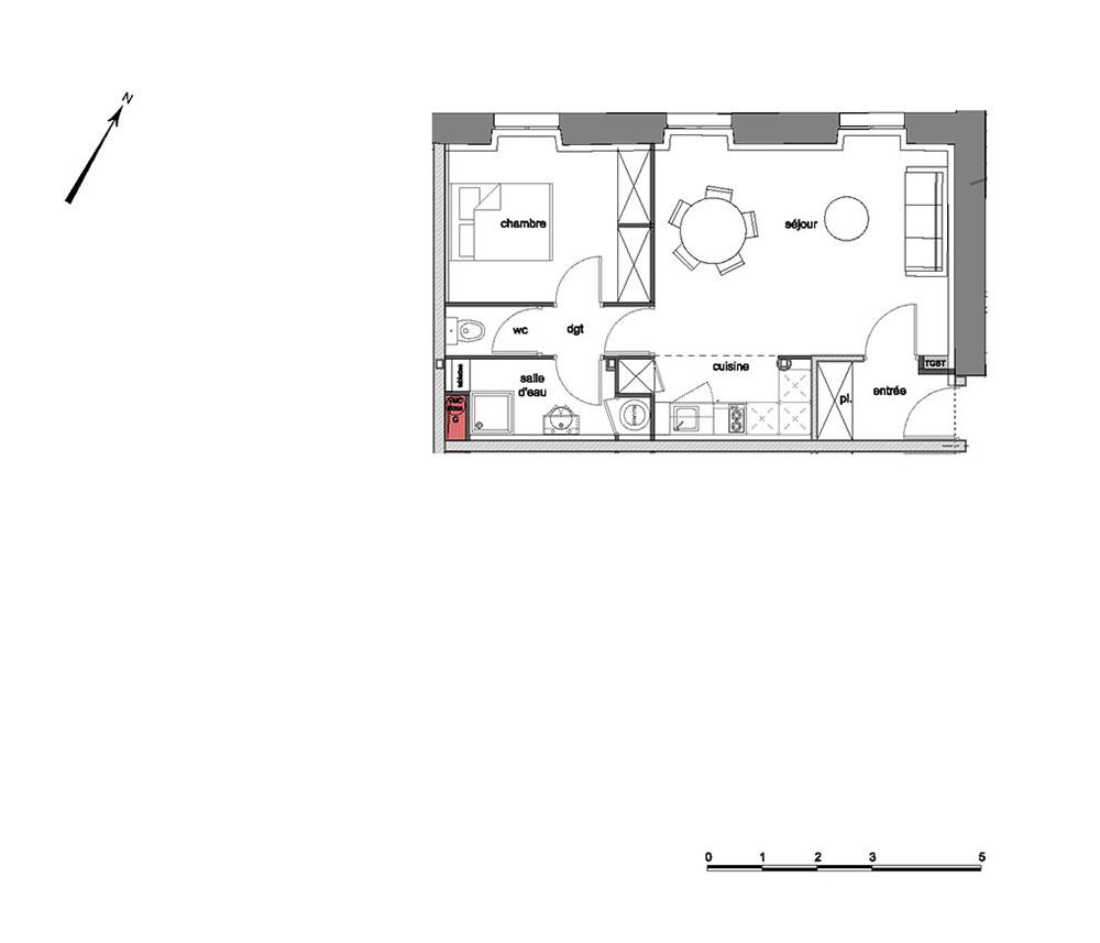 appartement n 090103 grand s minaire richelieu t2 de m chamali res. Black Bedroom Furniture Sets. Home Design Ideas