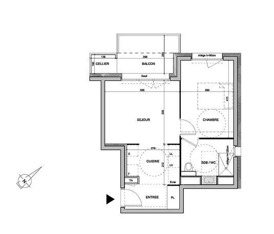 Appartement n 01a401 les jardins d alphonse t2 de for Le jardin d alphonse