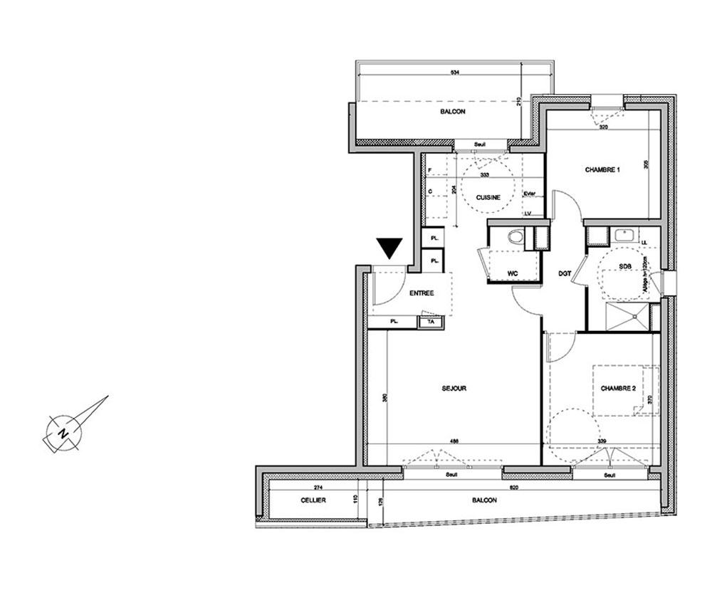 Appartement n 01a601 les jardins d alphonse t3 de for Le jardin d alphonse