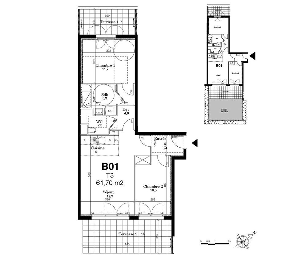 Appartement n 010b01 domont coeur jardin t3 de m for Le jardin domont